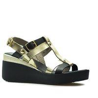 Sandały b4918-f56-f55 czarne/złote lico marki Carinii