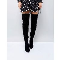 PrettyLittleThing Faux Fur Trim Heeled Over The Knee Boot - Black