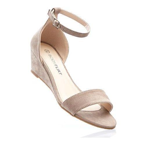 Sandały na koturnie bonprix brunatny, kolor brązowy
