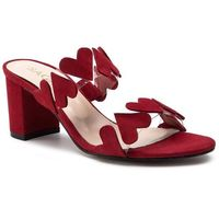 Klapki SAGAN - 3610 Czerwony Welur, kolor czerwony