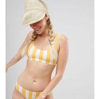 block stripe sporty bikini top in yellow stripe - multi marki Monki