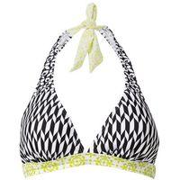 Biustonosz bikini z ramiączkami wiązanymi na szyi czarno-biały wzorzysty marki Bonprix