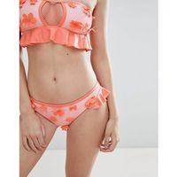 Playful Promises Crochet Bikini Bottoms With 3D Floral Embellishment - Pink, kolor różowy