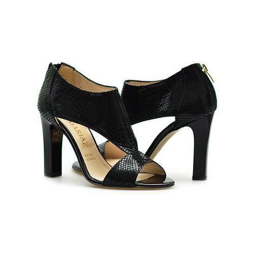 Sandały Mariaż 1584 Czarne wąż/zamsz, kolor czarny