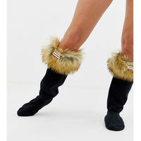 Hunter tawny faux fur cuff tall boot socks - beige