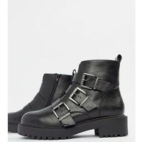 ASOS DESIGN Wide Fit Arco chunky multi buckle ankle boots - Black, ankle