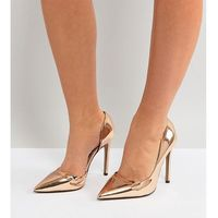 wide fit heeled court shoes - gold, River island