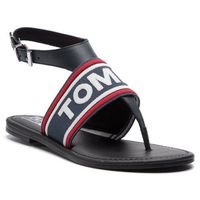 Sandały TOMMY JEANS - Pop Webbing Flat Tongue Sandal EN0EN00463 Midnight 403, kolor niebieski