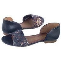 Sandały Maciejka Granatowe Kwiaty 03615-60/00-5 (MA490-b), kolor niebieski