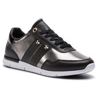 Sneakersy TOMMY HILFIGER - Tommy Essential Leather Sneaker FW0FW03688 Black 990, kolor szary
