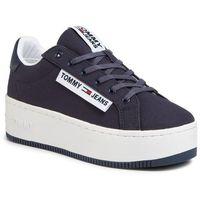 Sneakersy TOMMY JEANS - Oversized Label Icon Sneaker EN0EN00787 Twilight Navy C87, kolor niebieski