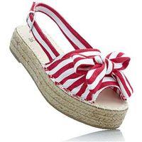 Sandały na koturnie czerwono-biały w paski marki Bonprix