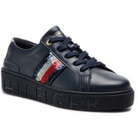 Tommy hilfiger Sneakersy - tommy sequins fashion sneaker fw0fw03704 midnight 403