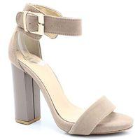 2661 beżowe - sandały na słupku, skóra - beżowy marki Tymoteo