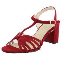 Sandały letnie Sagan Czerwony Słupek Licowa, kolor czerwony