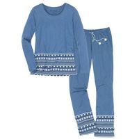 Piżama, bawełna organiczna bonprix niebieski dżins - biały z nadrukiem, w 7 rozmiarach