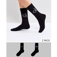 Calvin Klein 2 pack retro logo crew socks - Black, kolor czarny