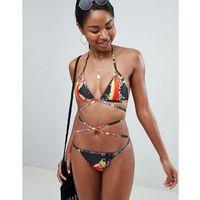 PrettyLittleThing Printed Wrap Detail Bikini Top - Black, kolor czarny