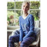 Piżama lns 008 b8 niebieski-granatowy - niebieski-granatowy marki Key