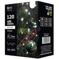 Lampki choinkowe 120 LED 12m CW, timer ZY0803T, EMOS