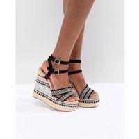 stripe wedge heeled sandals - black, River island