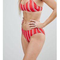 Monki Sporty Stripe Low Rise Bikini Bottoms - Red