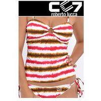 Cc7 roberto lucca Set kąpielowki cc7 tanikini + bikini pink stripes no. 39