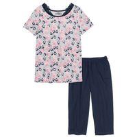 Piżama ze spodniami 3/4 ciemnoniebiesko-jasnoszary melanż z nadrukiem marki Bonprix