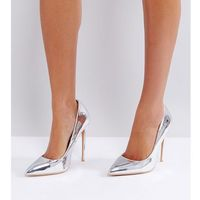 true silver sweetheart cut out court shoes - silver, Lost ink