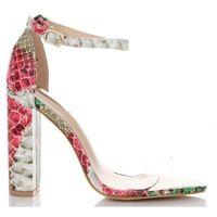 Modne transparentne sandały damskie na obcasie w motyw węża różowe (kolory), Belluci