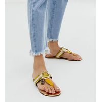 River Island toe post sandals with gold detail in yellow - Yellow
