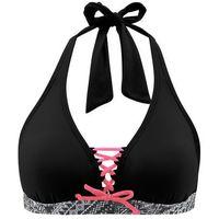 Biustonosz bikini z ramiączkami wiązanymi na szyi czarny, Bonprix, S-XL