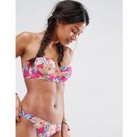 mix and match cupped bandeau bikini top in carnival floral print - multi, Asos, XXS-M