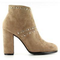 Buty obuwie damskie Botki na szerokim obcasie m275 khaki