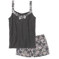 Bonprix Piżama z krótkimi spodenkami szaro-jasnoróżowy z nadrukiem
