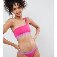 tanga contrast band bikini bottoms in pink - pink, Monki, XS-L