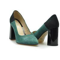Czółenka Marco 0778P-406-404-1 Zielone/Czarne zamsz, kolor zielony