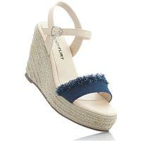 Sandały na koturnie niebieski dżins marki Bonprix