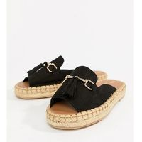 wide fit espadrille loafer with tassel front - black marki River island