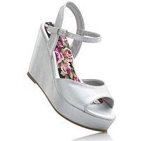 Sandały na koturnie srebrny metaliczny, Bonprix, 40-42