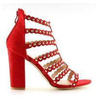 Sandałki na obcasie z ćwiekami czerwone red, 1 rozmiar