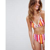 block stripe bikini top with lace trim - multi, Vero moda, M-L