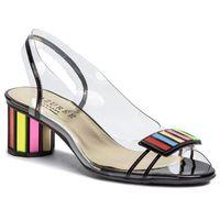 Sandały AZURÉE - Malin 9HMU Vernis Noir/Motif Multi 02, kolor biały