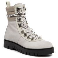 Botki TOMMY JEANS - Padded Nylon Lace Up Boot EN0EN00613 White 100, kolor szary