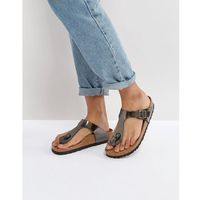 gizeh metallic anthracite leather narrow fit flat sandals - silver, Birkenstock