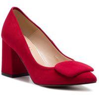 Półbuty SAGAN - 3131 Czerwony Welur, kolor czerwony