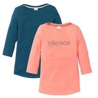Shirt, rękawy 3/4 (2 szt.) niebieskozielony + jasny brzoskwiniowy z nadrukiem, Bonprix