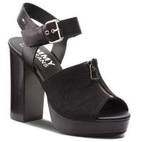 Sandały - denim zipper sandal high heel en0en00117 black 990 marki Tommy jeans