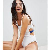 Monki Contrast Cut Out Side Swimsuit - White, w 5 rozmiarach