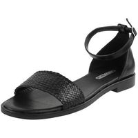 Sandały letnie czarne płaska podeszwa licowa, Vogue carla